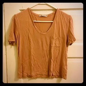 Alexander Wang Cropped Tee in Dusty Pink